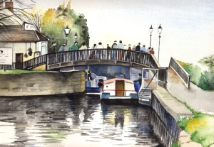 Painting of Beeston Lock by Janet Barnes